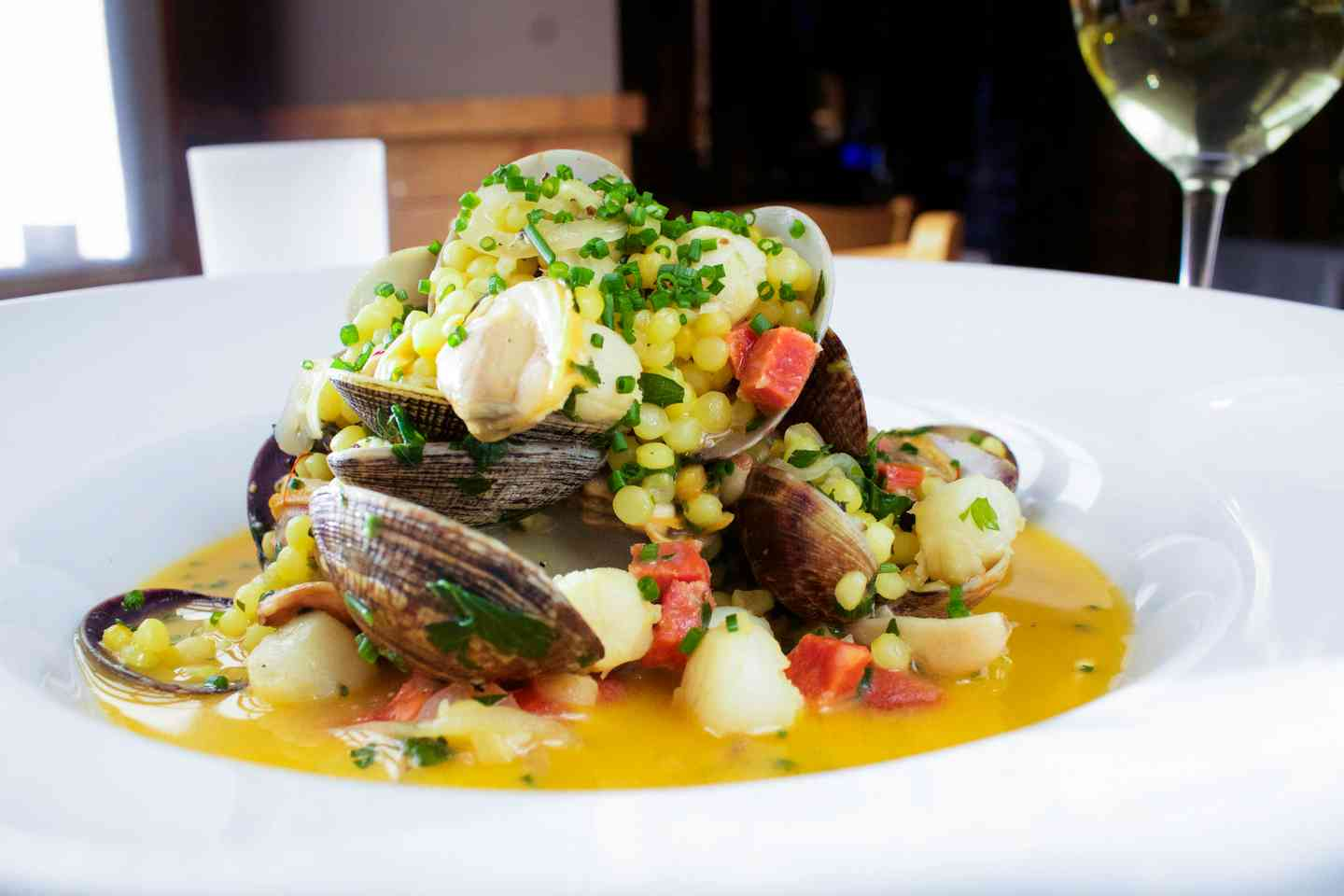 Close up view of a seasonal seafood and corn dish