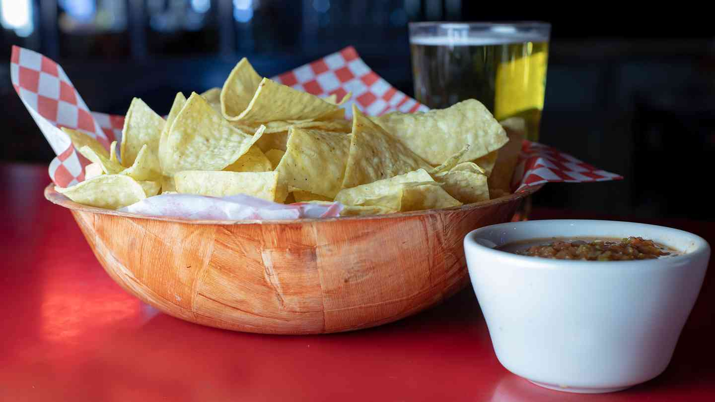 CHIPS AND RED OR GREEN SALSA