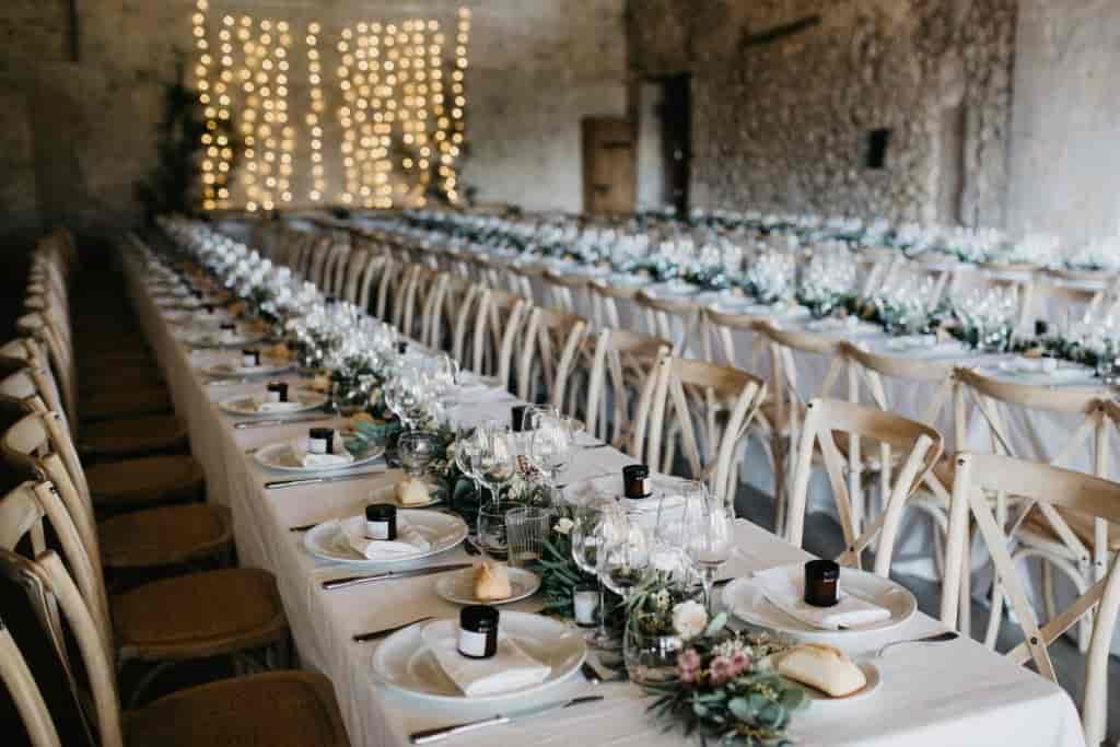 Elegant dining set up for wedding guests