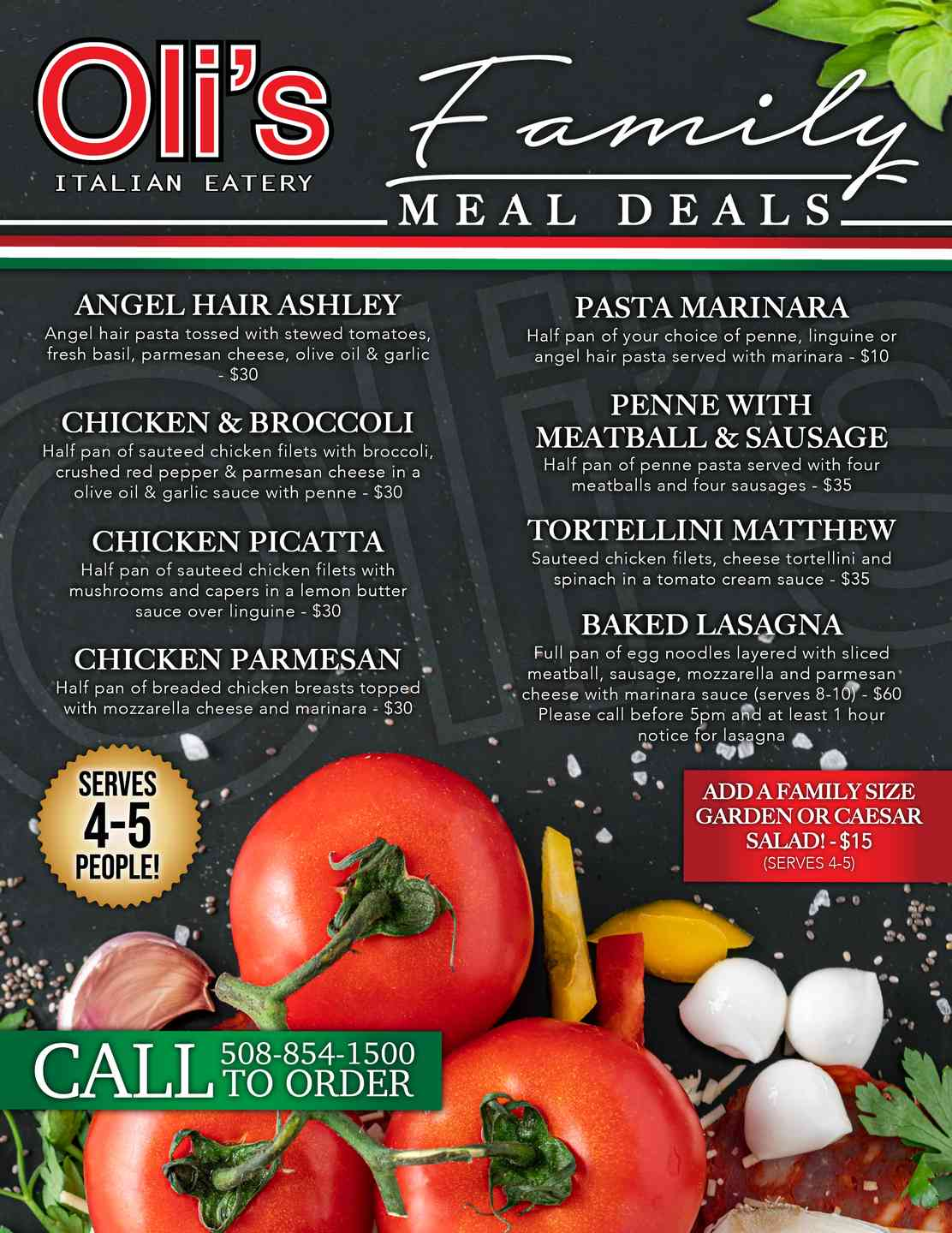 Tomato Pie Bar & Grill Family Meal Deal menu