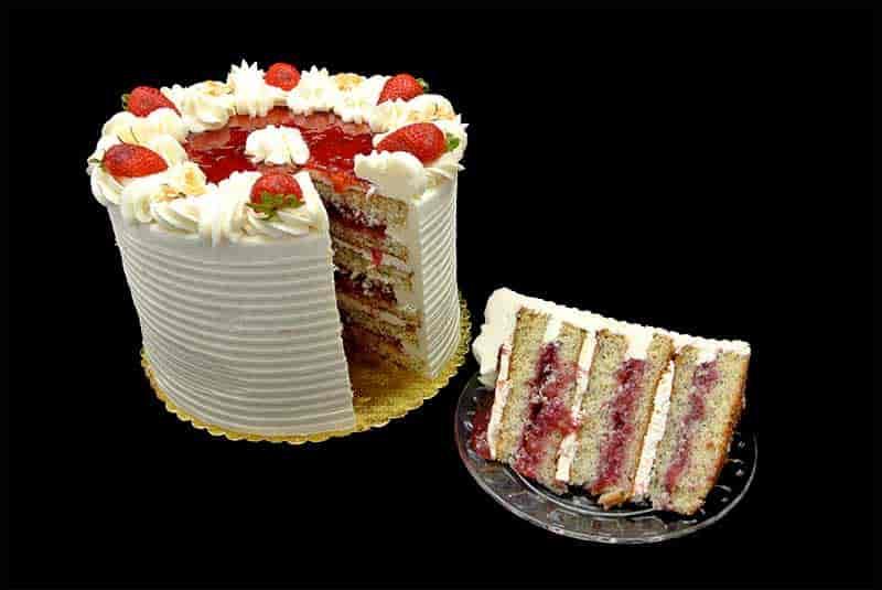 Strawberry Amaretto Poppy Seed Cake