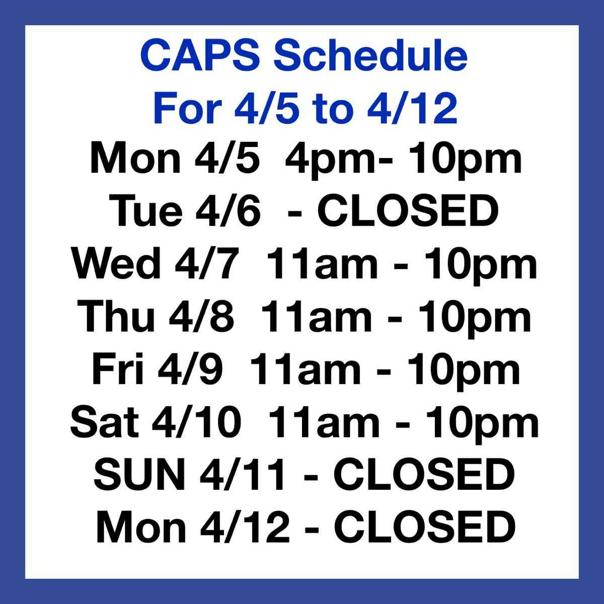 Schedule for 4/5 through 4/12