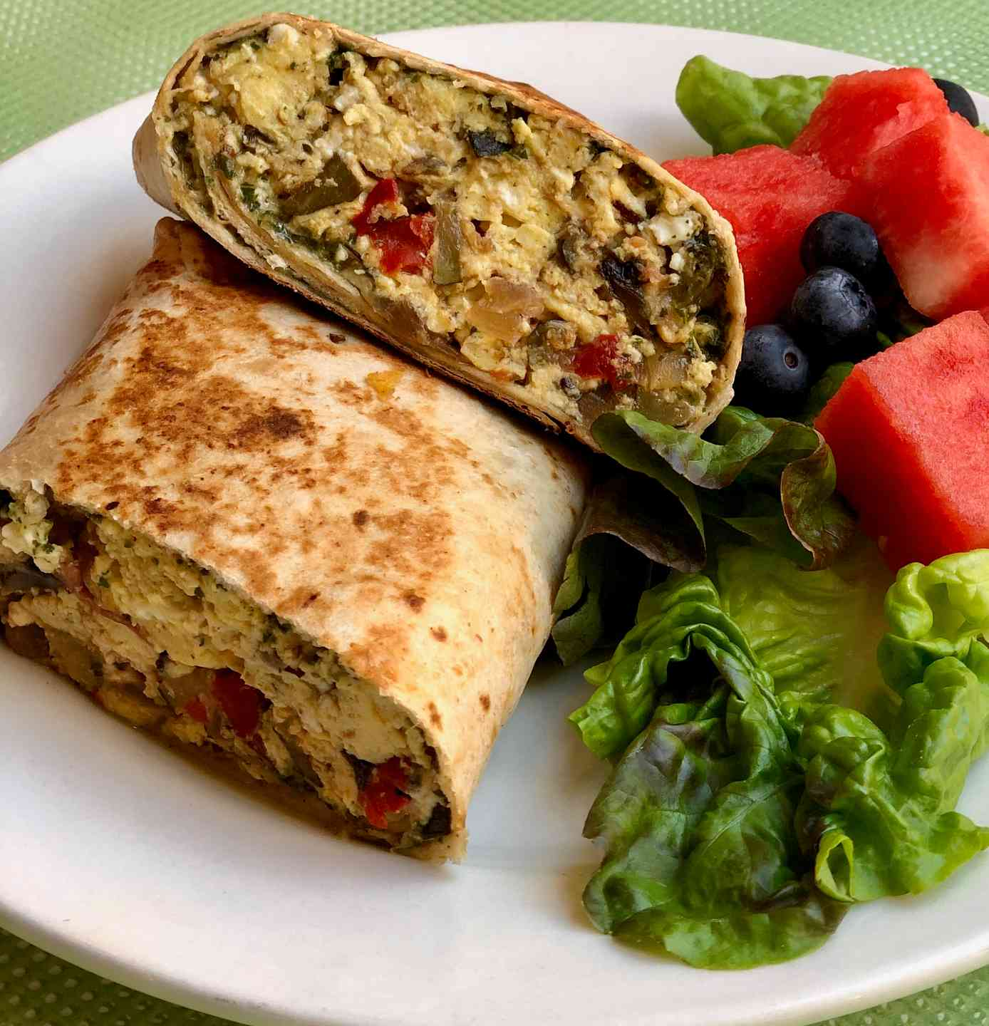 Roasted Veggie with Feta Egg Burrito