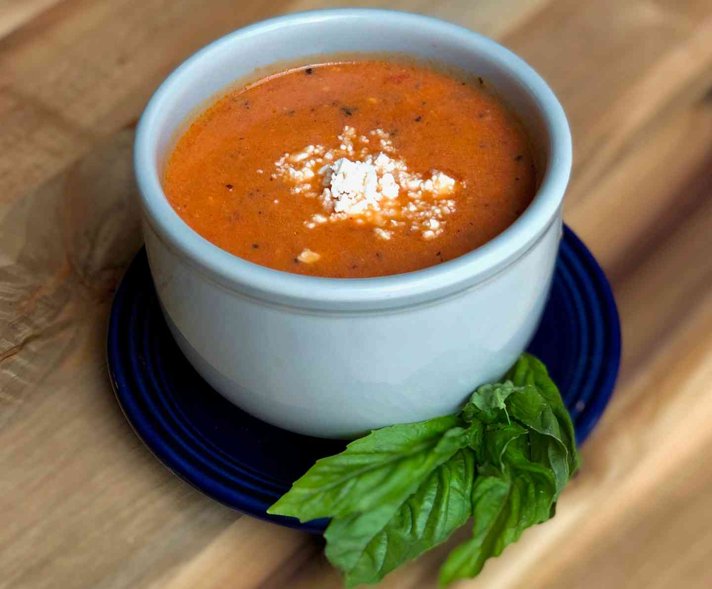Cream of Tomato with Basil and Feta Soup