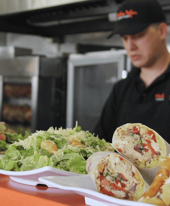 chicken dijon mediterranean salads and rotisserie chicken wraps