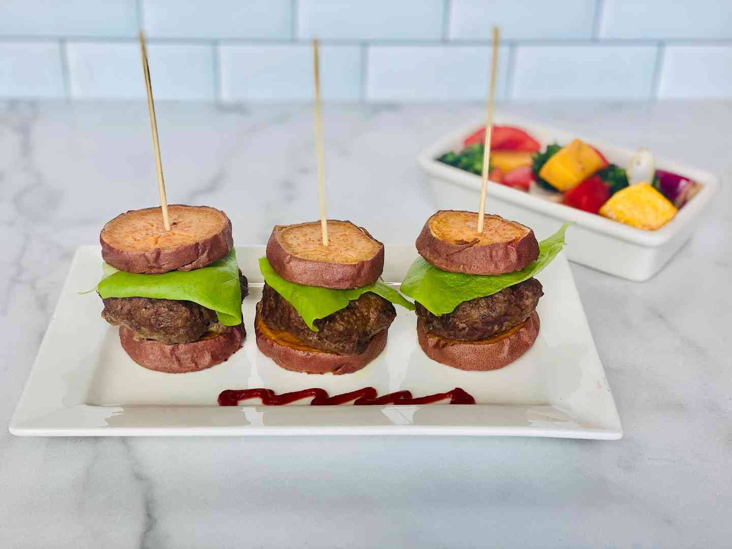 "Mini Sliders with Sweet Potato ""Bun"""