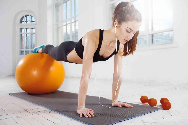 girl on fitness ball