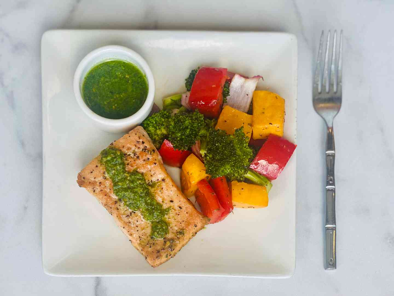 Pesto Salmon with Sheet Pan Veggies