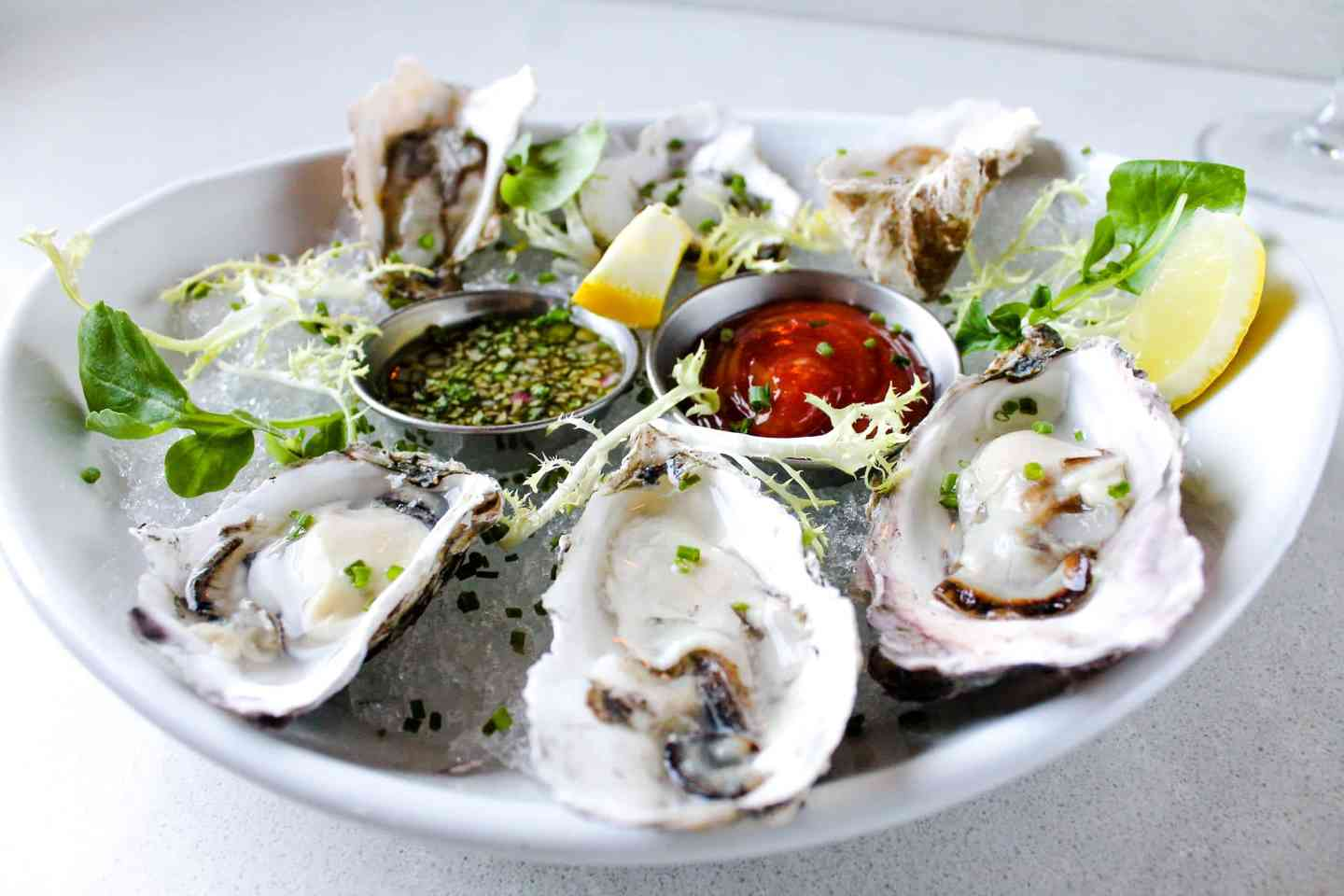 Freshly Shucked Market Oysters on the Half Shell
