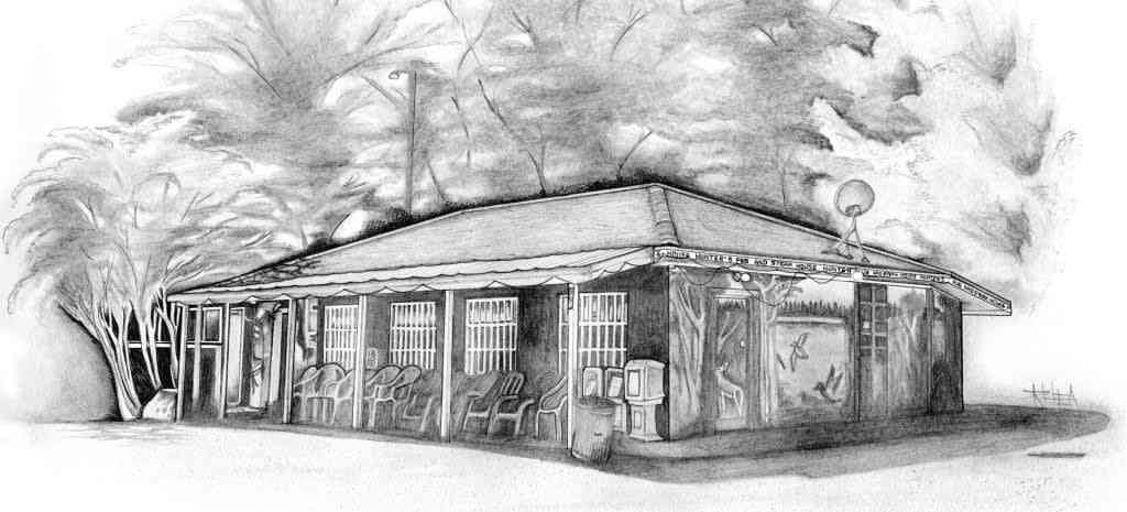 Pencil drawing of Hunter's Pub and Steakhouse building