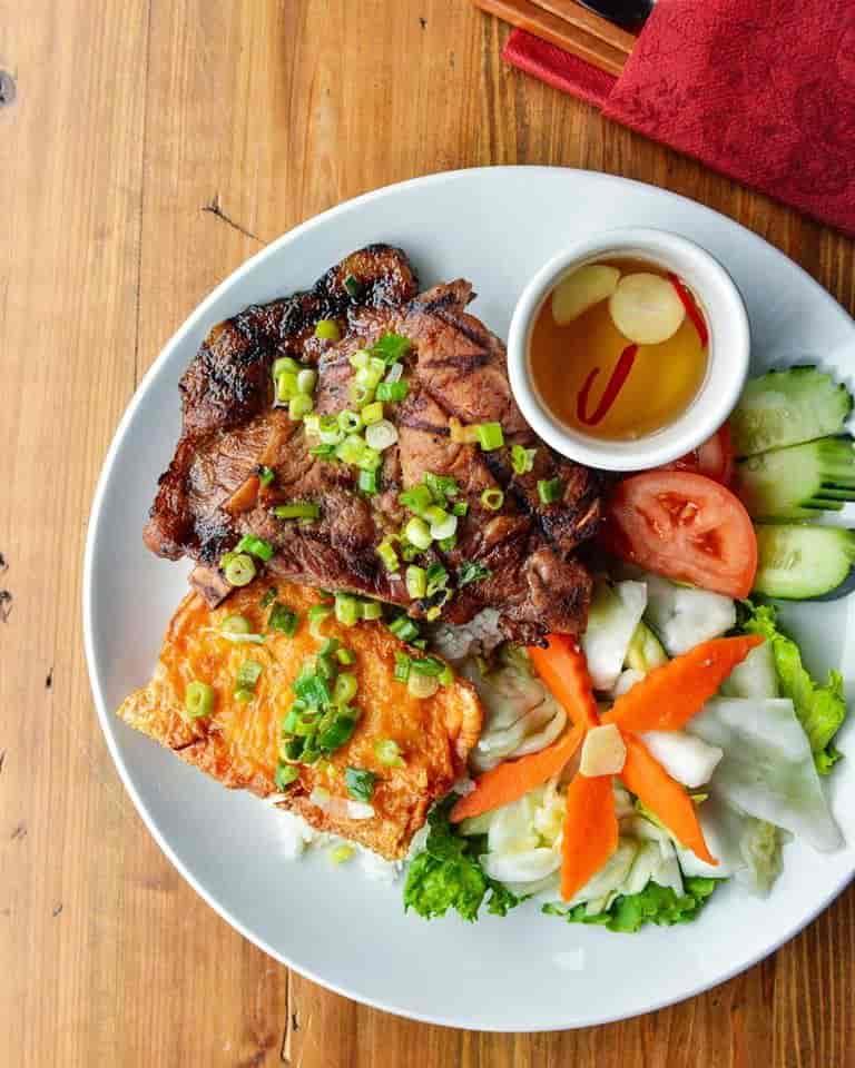 Broken Rice with Pork Chop & Shrimp Paste – Cơm Tấm Sườn Nướng Tàu Hủ Ky
