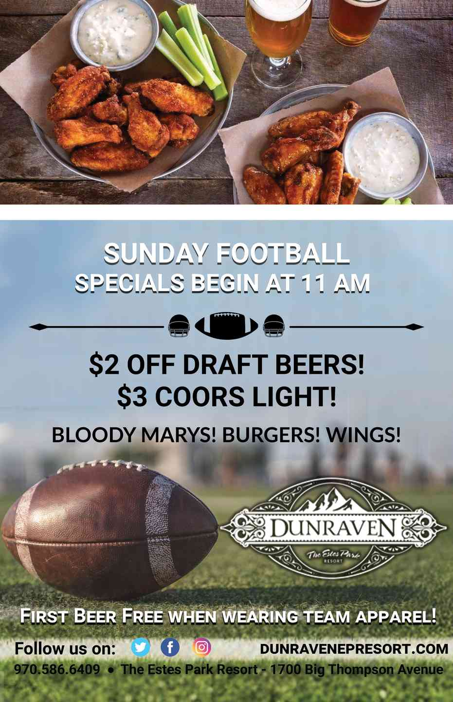 Sunday Game Day ad, free drink with a team jersey