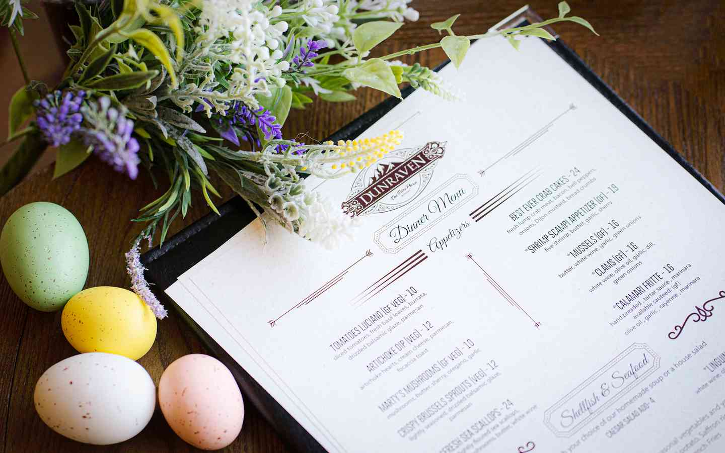 dunraven menu with easter eggs and spring flowers