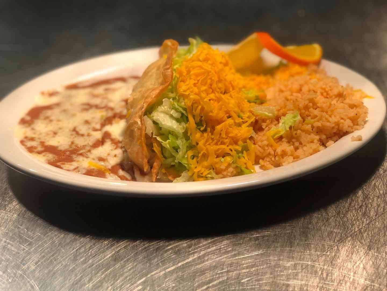 #9- Taco Supremo Plate - A Huge Crisp Flour Tortilla