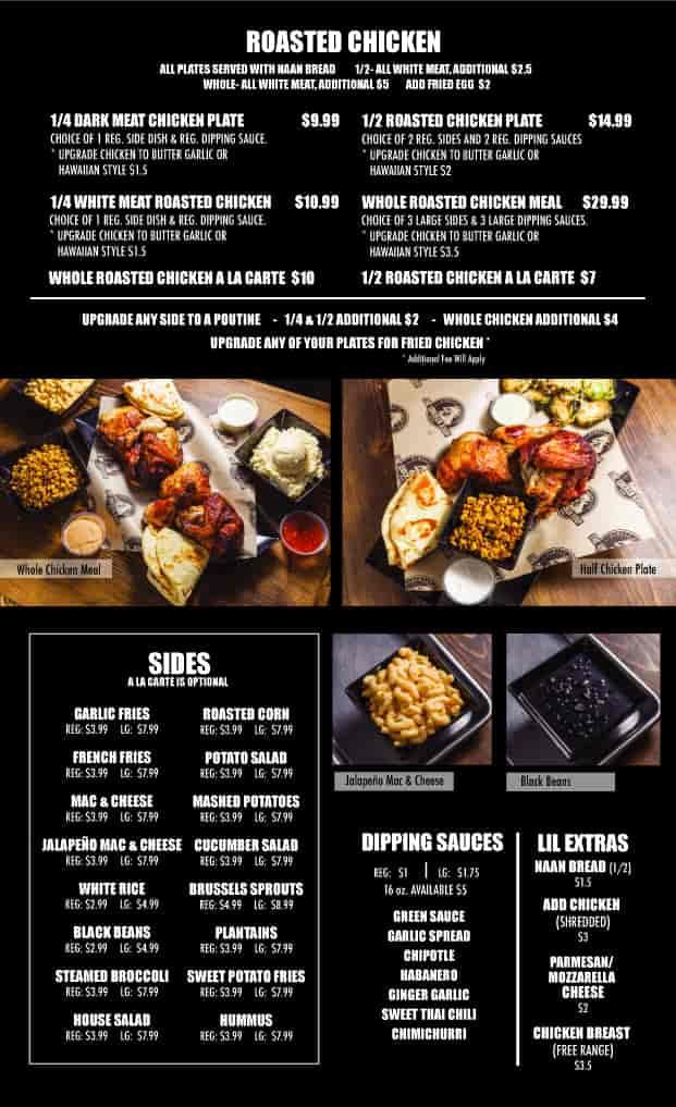 roasted chicken menu