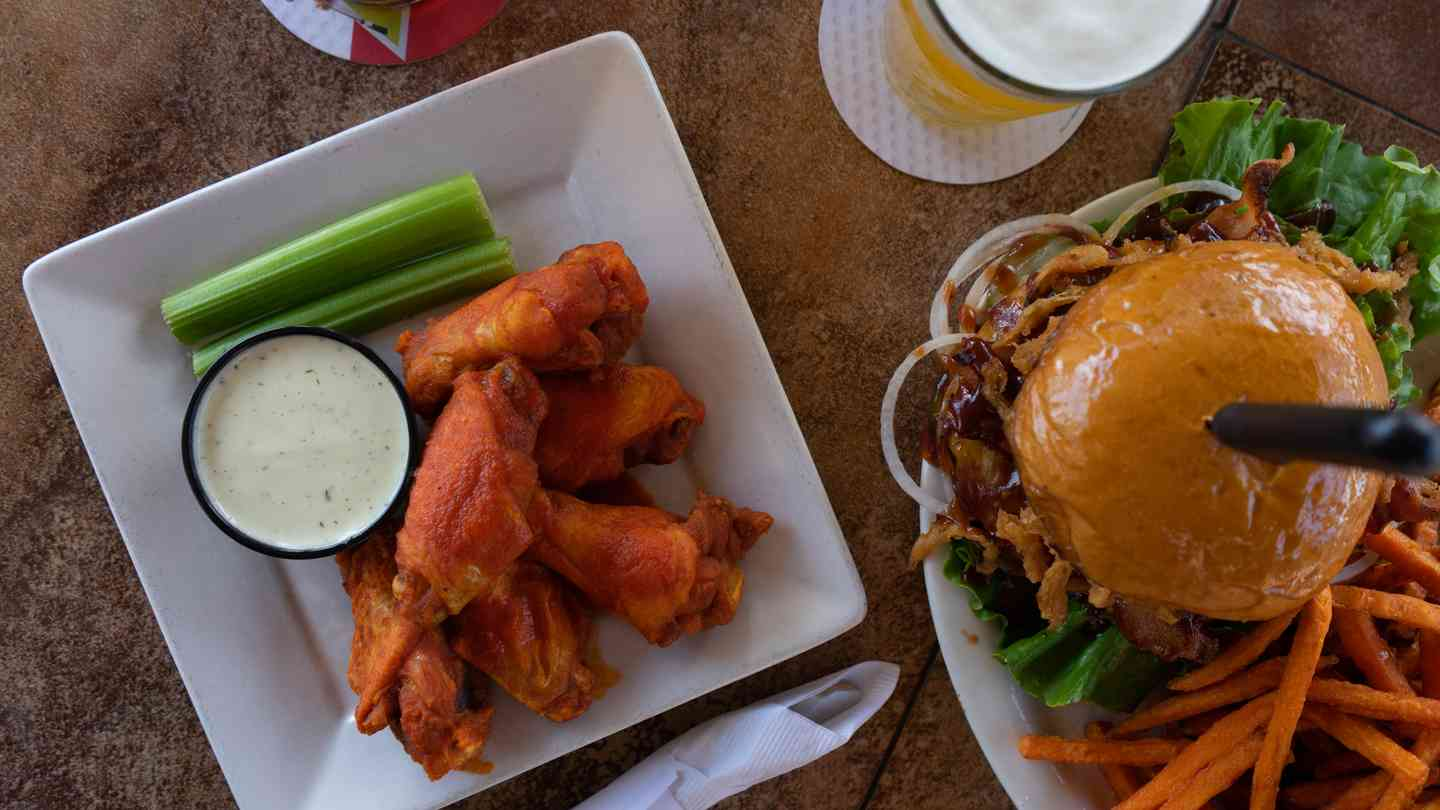 burger and wings