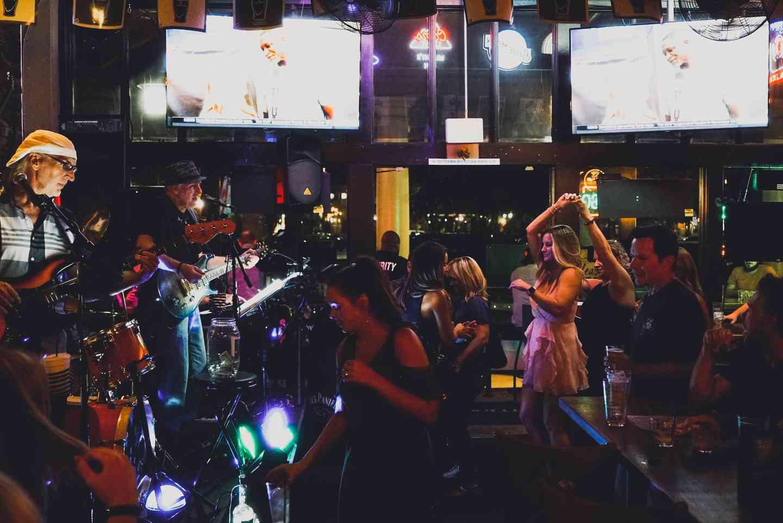 Crowd dancing at Murphy's Law Irish Pub