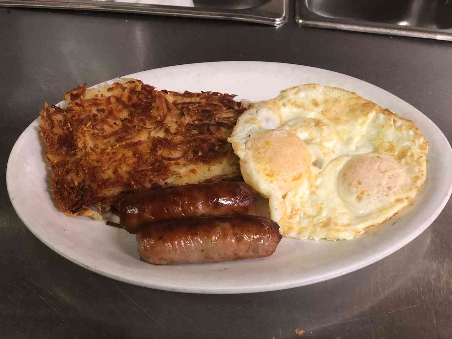 Bacon or sausage and eggs