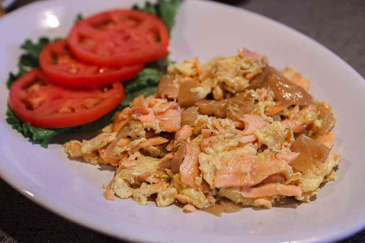 Lox and eggs and onions, scrambled