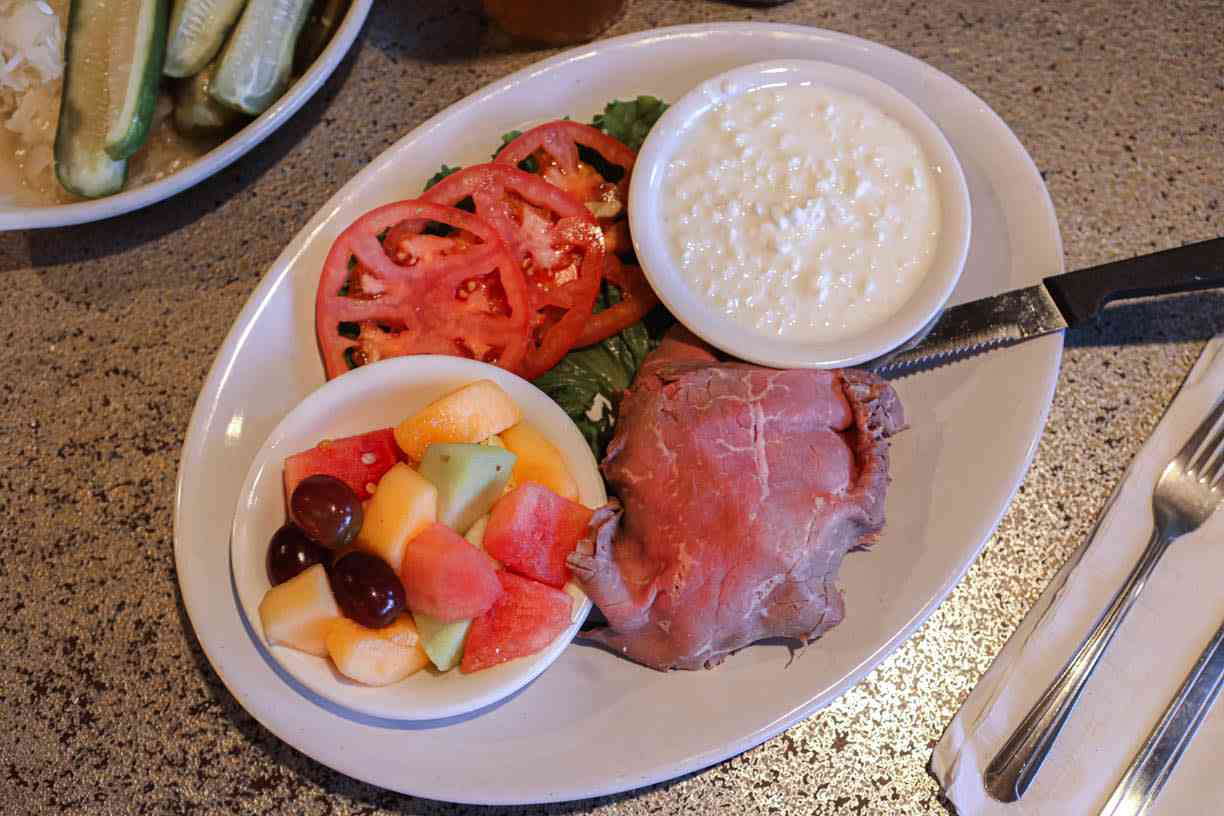 Cold Roast Beef or Turkey Breast platter and scoop of cottage cheese