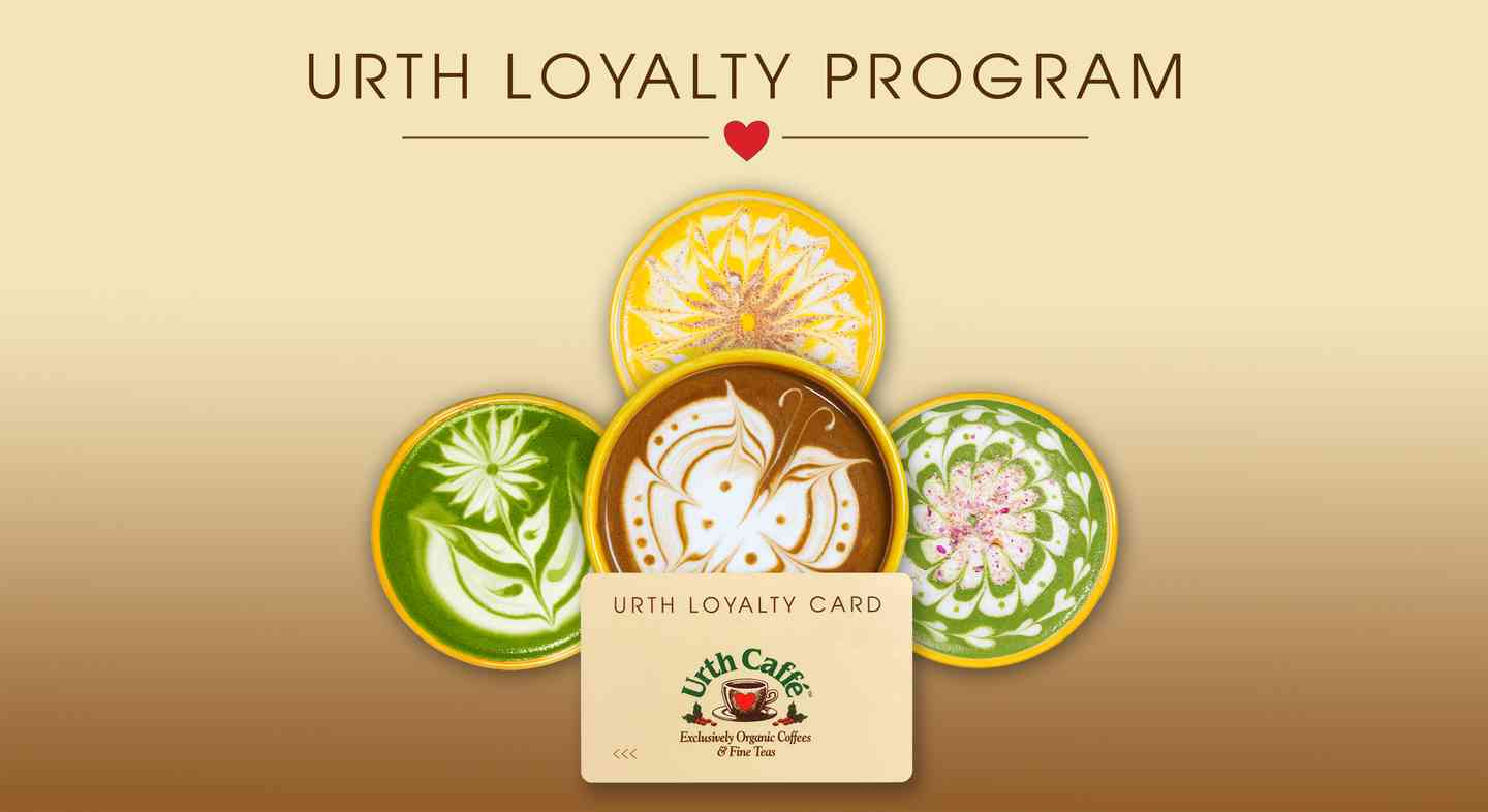 urth loyalty program graphic with four colorful latte designs radiating from behind a tan colored Urth Loyalty card