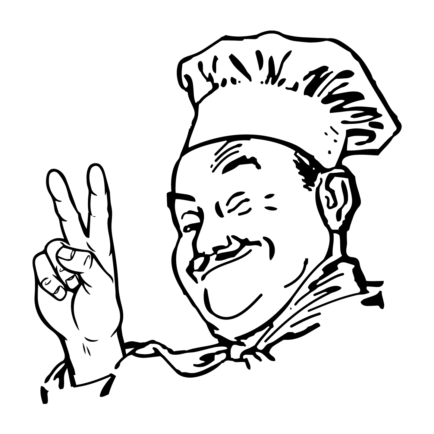 Chef with Peace sign