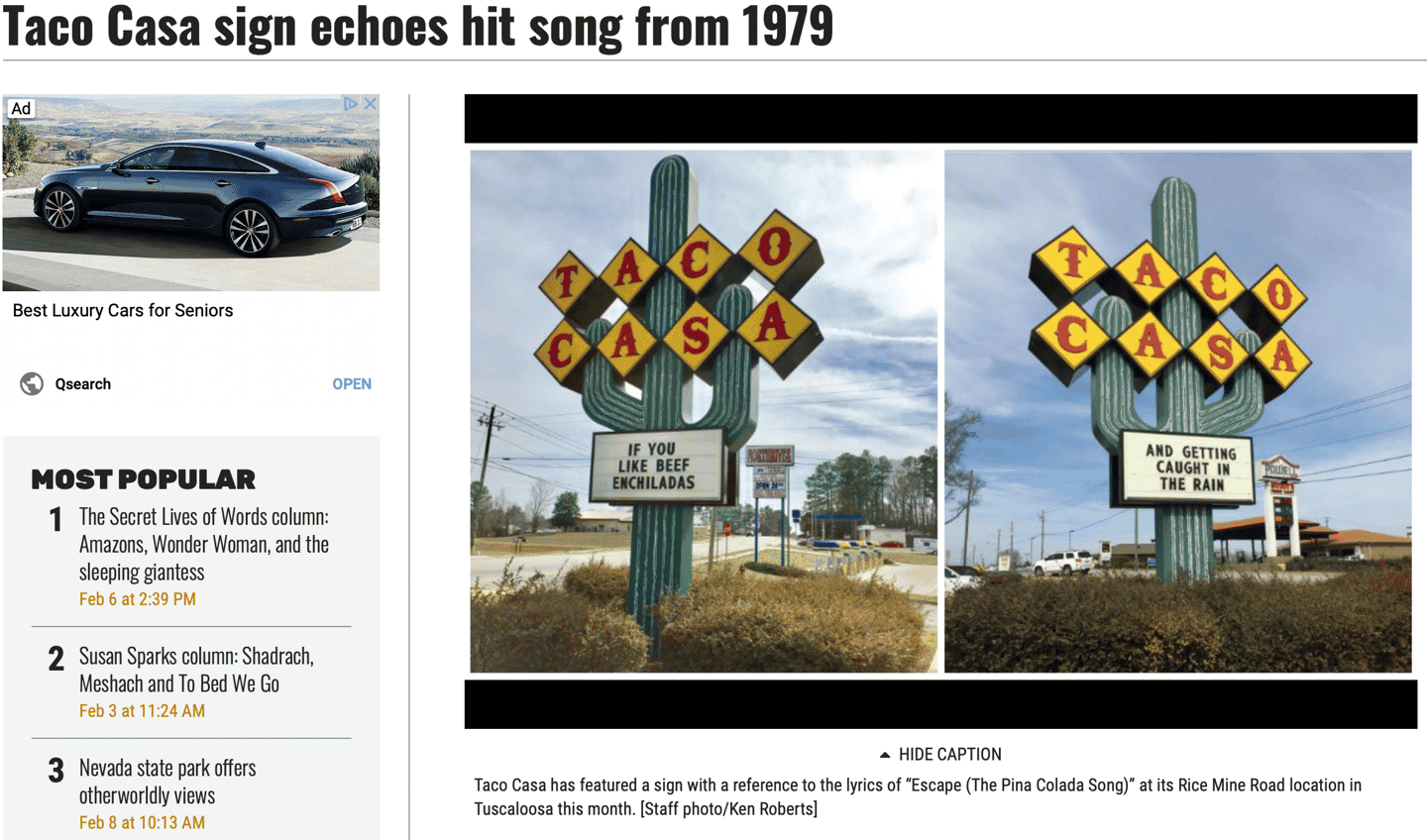 Taco Casa sign echoes hit song from 1979 (The Tuscaloosa News)