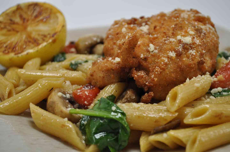 Parmesan Encrusted Chicken Primavera