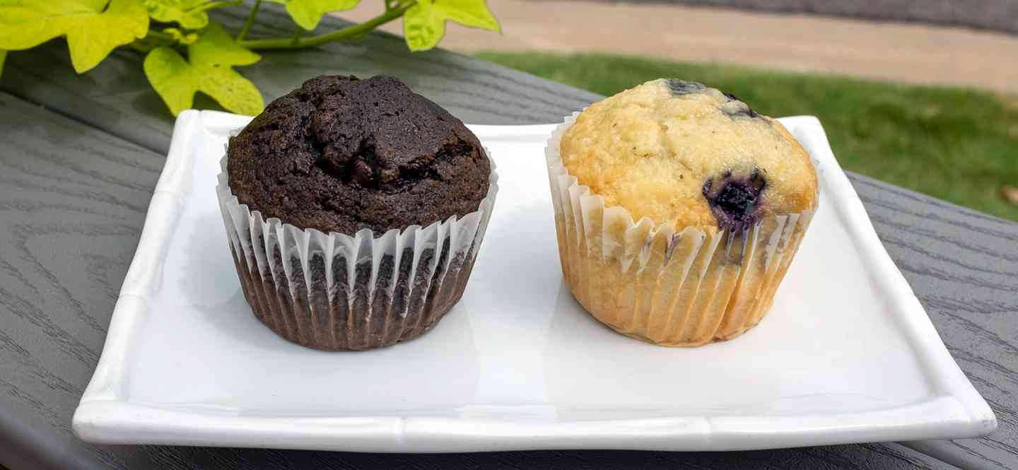 La Baguette Chocolate and Blueberry Muffins