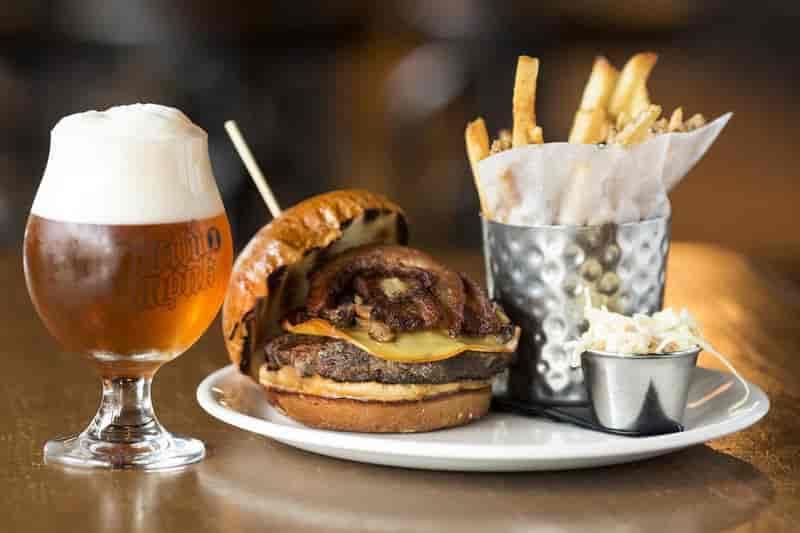 beer, burger, fries