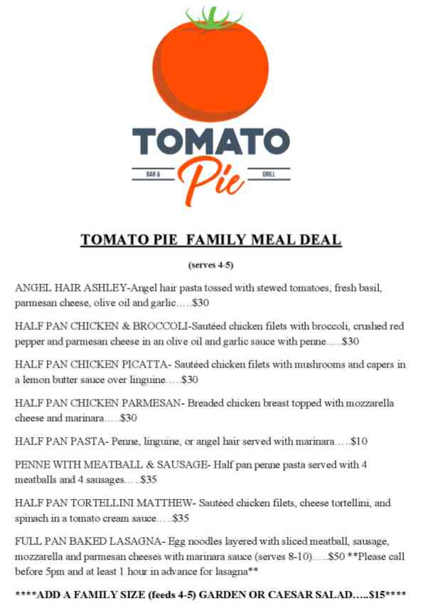 Tomato Pie Bar & Grill Meal Deals