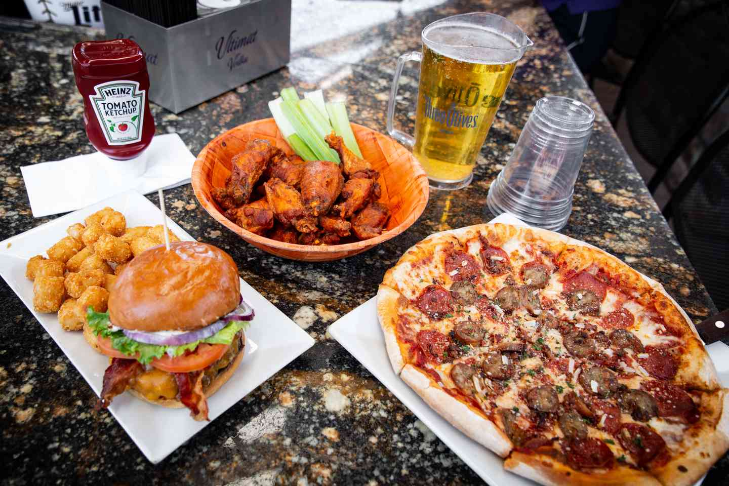 burger, wings, and pizza