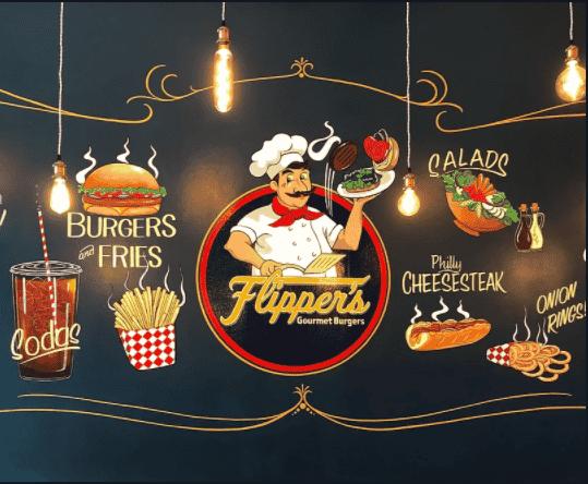 Flipper's restaurant wall art