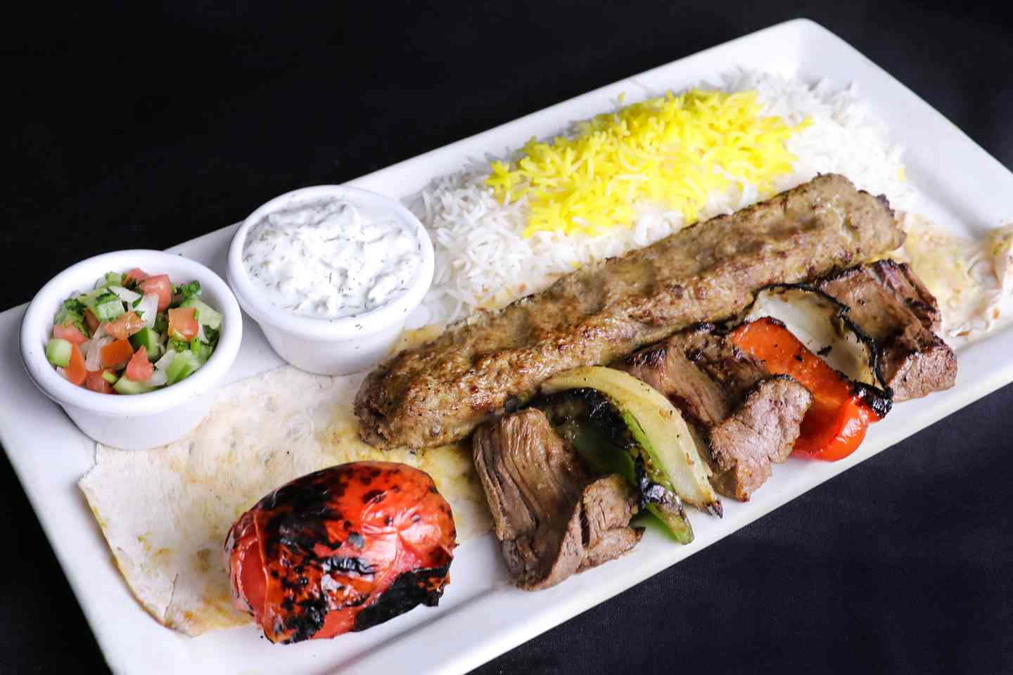 1 Skewer of Koobideh + 1/2 Filet Shish