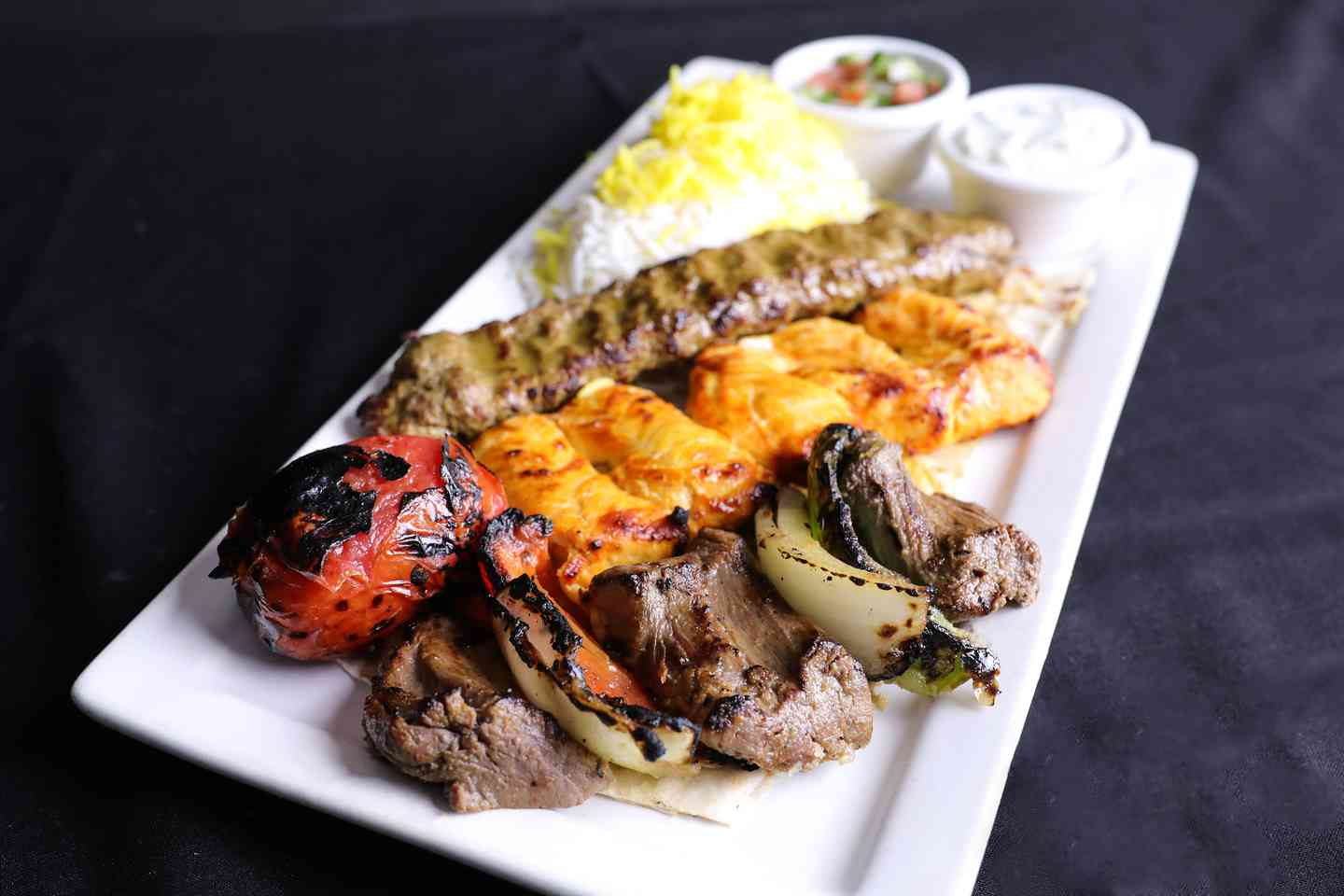 1 Koobideh + 1/2 Filet Shish + 1/2 Chicken Breast