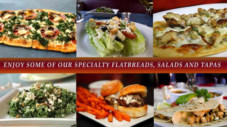 enjoy some speciality salads, flatbreads and tapas