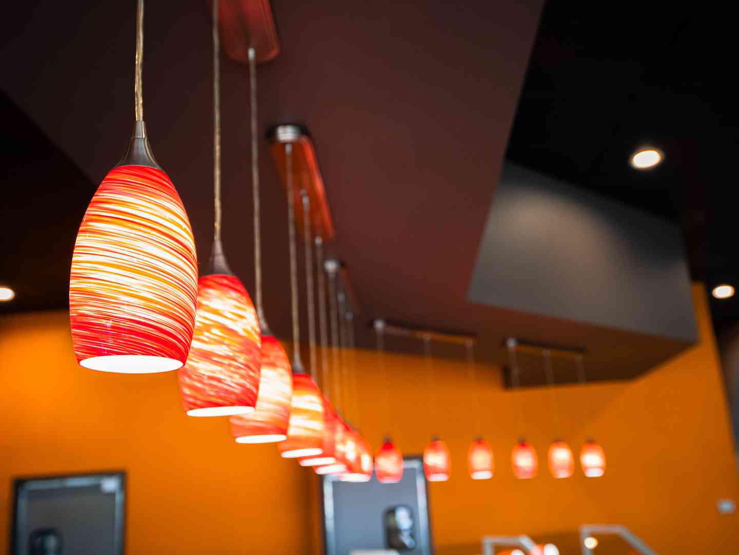 Decorative lighting over the food bar