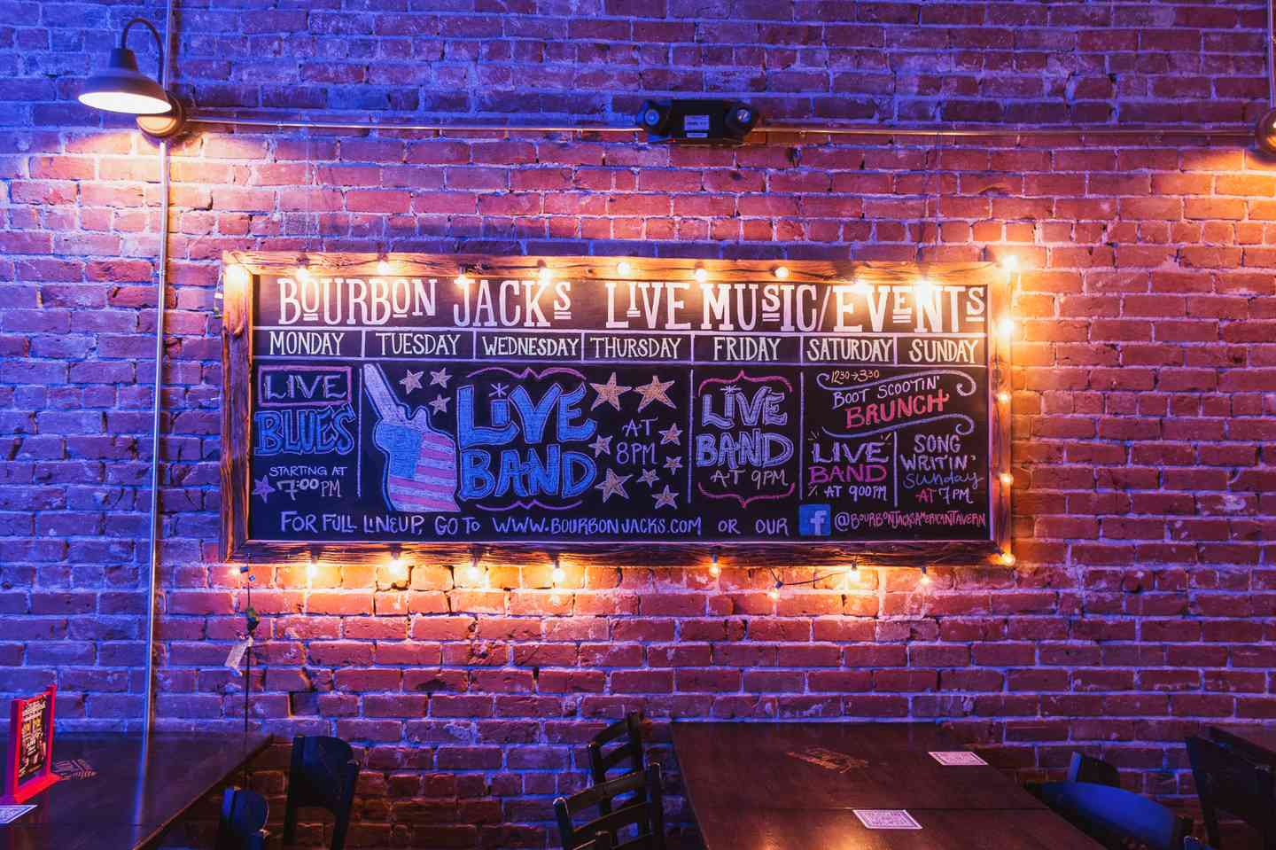 Bourbon Jack's Live Music and Events chalk board