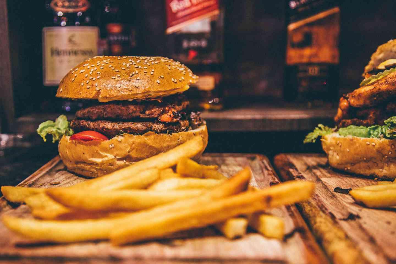 burger, fries, beers