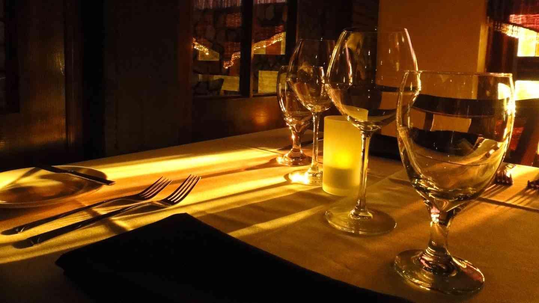 light shining through table setting