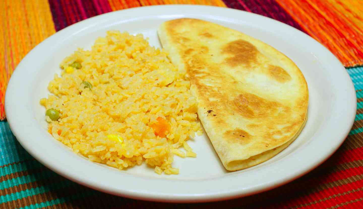 3. One Cheese Quesadilla with Rice or Fries