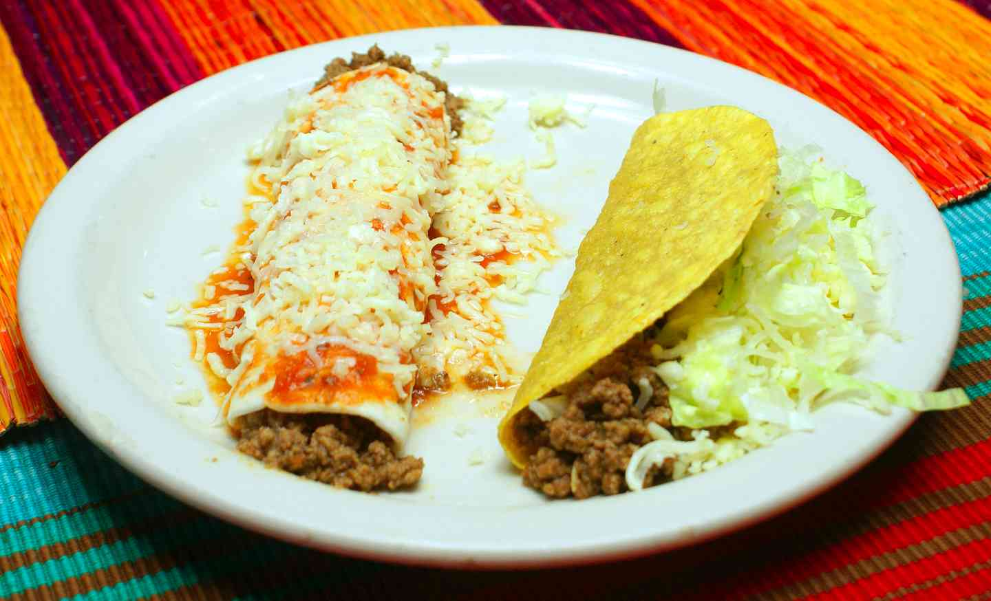 1. One taco with one burrito or enchilada