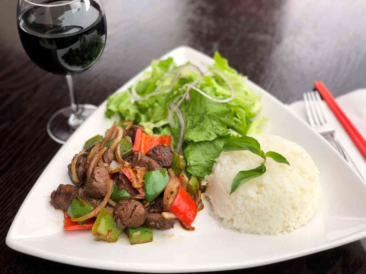 rice and meat with wine