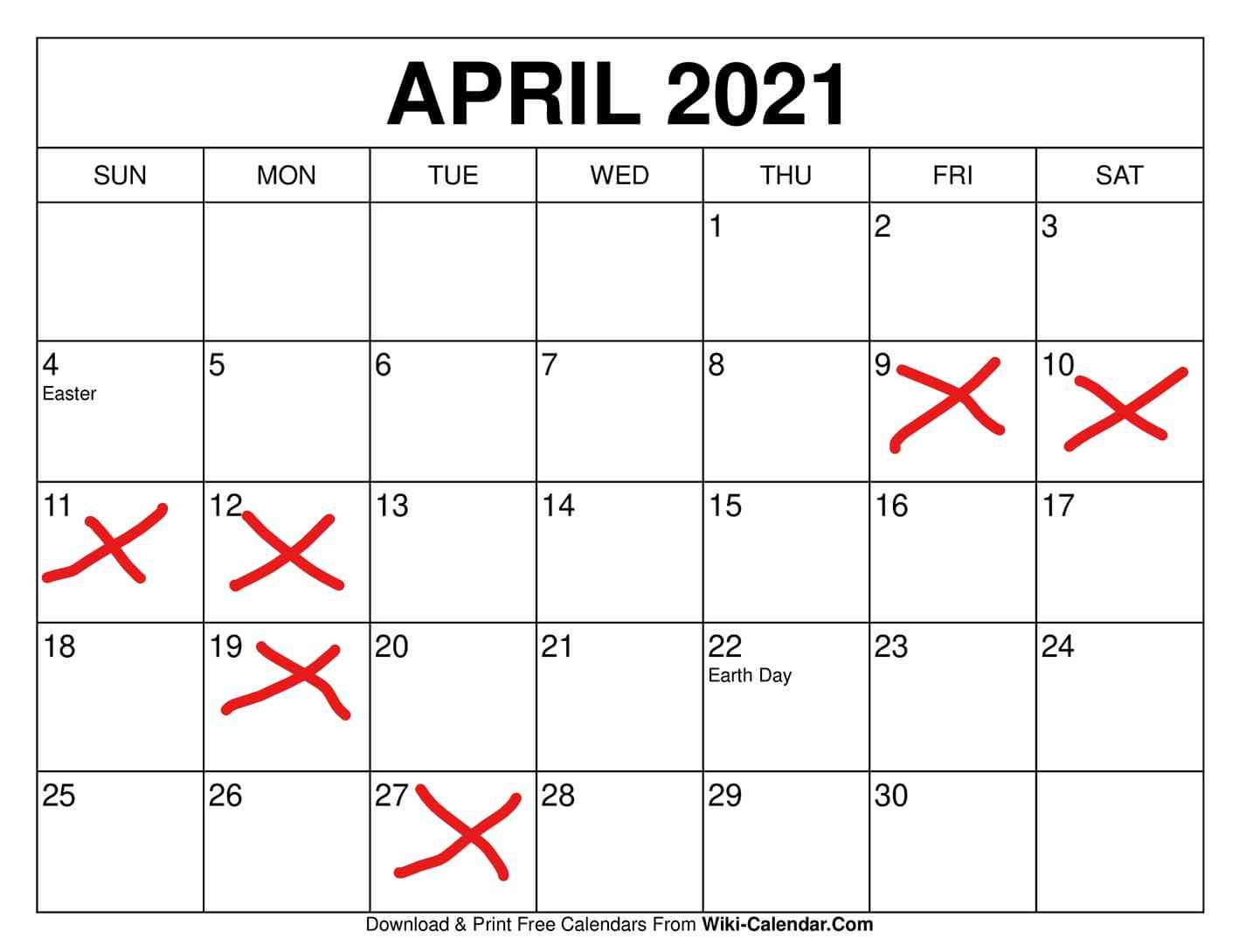 APRIL CLOSED DAYS