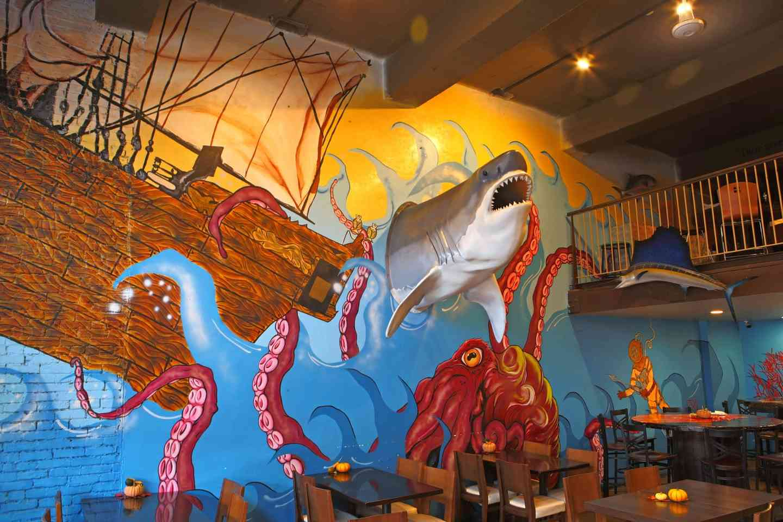 Big Cool Shark on A Mural Wall