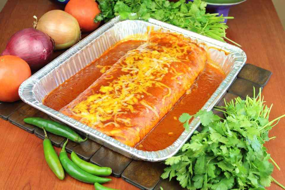 Choice or Chicken, Shredded Beef, Ground Beef or Chile Verde Party Burrito