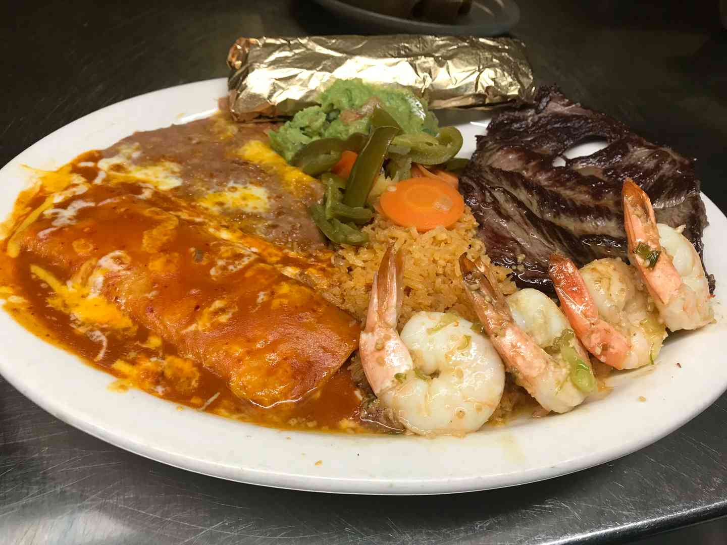 Carne Asada and Garlic Shrimp
