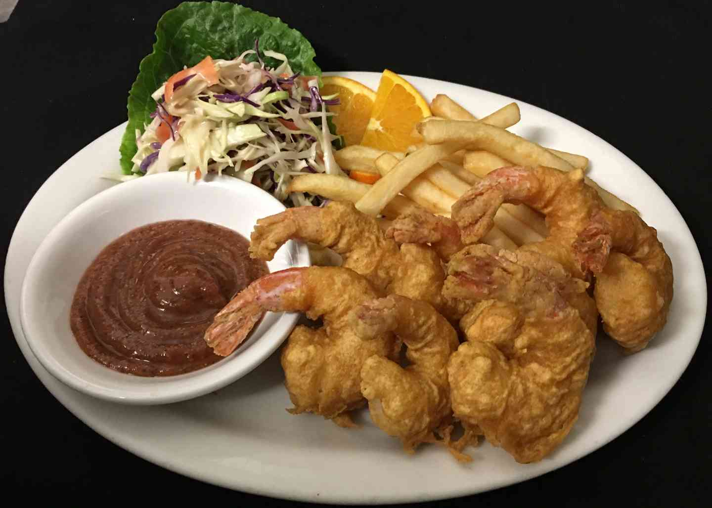 Fried Shrimp Fries and Coleslaw