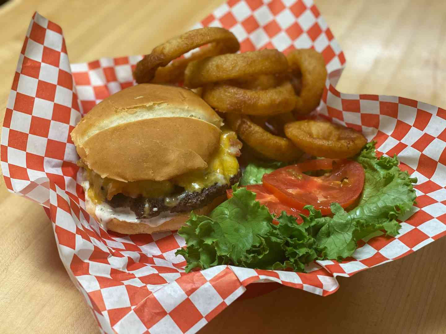 Ranch Burger with Beer Battered Onion Rings