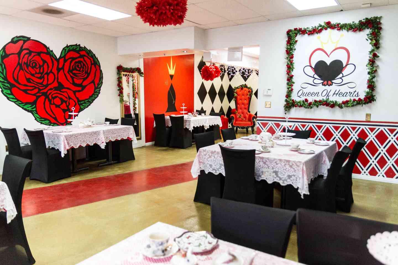queen of hearts tea party interior